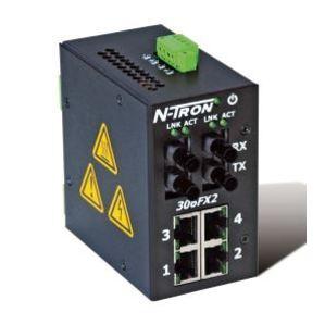 N-TRON 306FX2-N-ST Ethernet Switch, 6 Port, Unmanaged, 10-30VDC, 10/100BaseTX