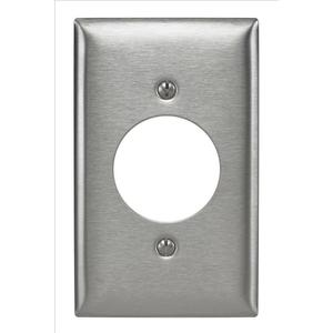 "Hubbell-Bryant SS720 Single Receptacle Wallplate, 1-Gang, 1.60"" Hole, Stainless"