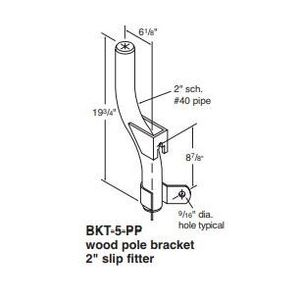 "Holophane BKT-5-HG Wood Pole Bracket, 1 Light, 2"" Slip Fitter, Galvanized"