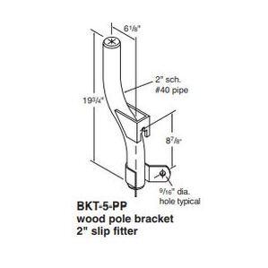 """Holophane BKT-5-HG Wood Pole Bracket, 1 Light, 2"""" Slip Fitter, Galvanized"""