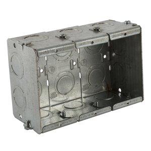 "Steel City GW-325-G Masonry Box, 3-Gang, 2-1/2"" Deep, 1/2"" & 3/4"" KOs, Steel"