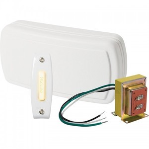 Nutone BK115LWH Wired Chime Kit, Illuminated, 1-Pushbutton, Surface Mount, White