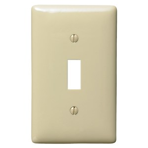Hubbell-Bryant NP1I Toggle Switch Wallplate, 1-Gang, Nylon, Ivory