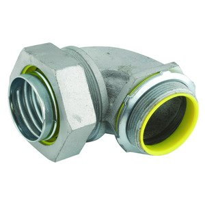 "Hubbell-Raco 3544 Liquidtight Ground Connector, 90°, Insulated, 1"", Malleable Iron"