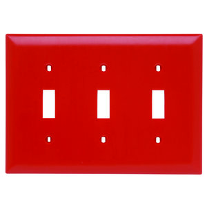 Pass & Seymour TP3-RED TRADEMASTER WALL PLATE 3G 3 TOGGLE