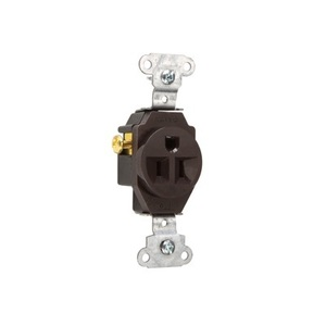 Pass & Seymour 5251 Single Receptacle, 15 Amp, 125 Volt, Brown
