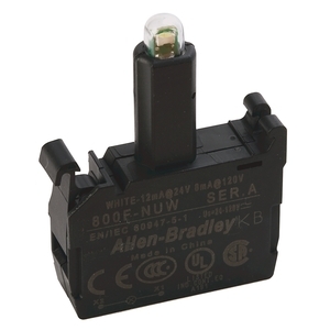 Allen-Bradley 800F-NUW Lamp Module, Integrated LED, 24-120V AC/DC, White, Latch Mount