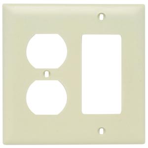 Pass & Seymour TP826-I Wallplate, 2-Gang, Duplex/Decora, Nylon, Ivory