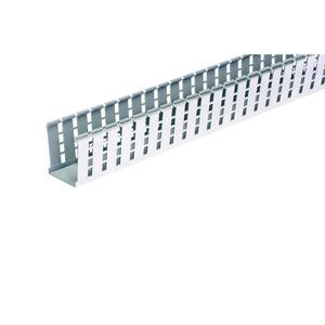 "Panduit G2X2LG6EMI Wiring Duct, Wide Slot, 2"" x 2"" x 6', PVC, Gray, Shielded"