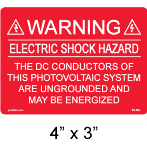"""PV Labels 03-104 Warning Label, Electric Shock, 4"""" X 3"""""""
