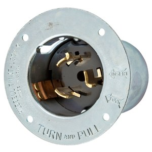 Hubbell-Wiring Kellems CS6375 Locking Flanged Inlet, 50A, 125/250V, California Style, 3P4W