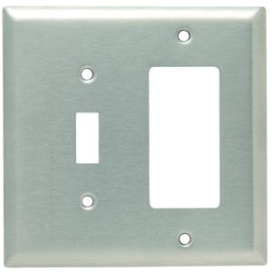 Hubbell-Wiring Kellems SSJ126 WALLPLATE, JUMBO, 2-G, TOG/GFCI, SS
