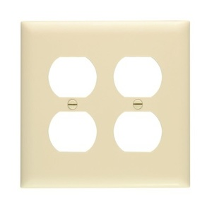 Pass & Seymour TP82-I Duplex Receptacle Wallplate, 2-Gang, Nylon, Ivory