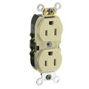 Leviton CR015-I 15 Amp Duplex Receptacle, 125V, 5-15R, Ivory, Smooth Face