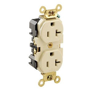 Leviton 5362-I Duplex Receptacle, 20A, 125V, Ivory, Heavy Duty, Back/Side Wired