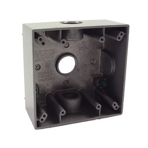 "Hubbell-Raco 5341-0 Weatherproof Outlet Box, 2-Gang, Depth: 2"", Die Cast"