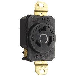 Leviton 2330 Locking Single Receptacle, 20A, 277V, 2P3W
