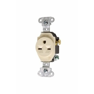 Pass & Seymour 5651-I Single Receptacle, 15 Amp, 250 Volt, Ivory
