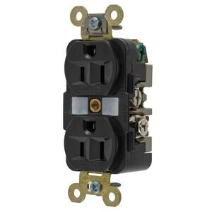 Hubbell-Kellems HBL5262BK Duplex Receptacle, 15A, 125V, Black, Industrial Grade