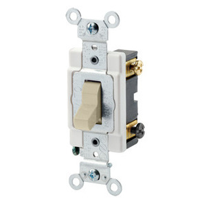 Leviton CSB3-20I 3-Way Switch, 20 Amp, 120/277V, Ivory, Back/Side Wired, Commercial