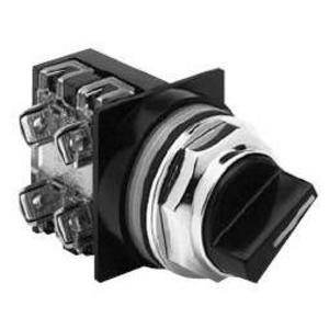 GE CR104PSG94B92 Selector Switch, 3 Position, Knob, Spring Right/Left, 2NO/NC Contact