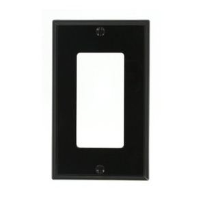 Leviton 80401-NE Decora Wallplate, 1-Gang, Nylon, Black
