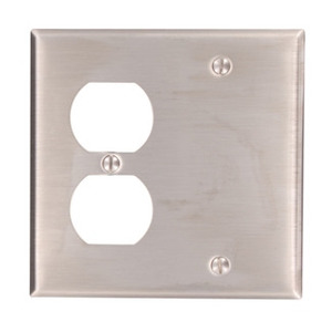 Leviton 84008-40 Comb. Wallplate, 2-Gang, Blank/Duplex, Non-Metallic Stainless Steel