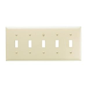 Pass & Seymour TP5-I Toggle Switch Wallplate, 5-Gang, Nylon, Ivory