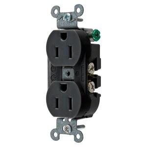 Hubbell-Wiring Kellems 5252ABLK RCPT, DUP SB, HUBPRO, 15A 125V, SF, BK