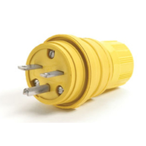 Woodhead 24W34 Locking Plug, Watertight, 15A, 277V, Rubber, Yellow