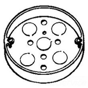 "Cooper Crouse-Hinds TP269 Ceiling Pan, Round, Diameter: 4"", 1/2"" Deep, Drawn, Steel"
