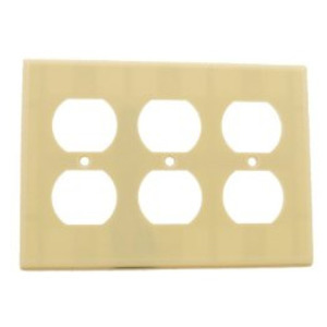 Leviton 86030 Duplex Receptacle Wallplate, 3-Gang, Thermoset, Ivory