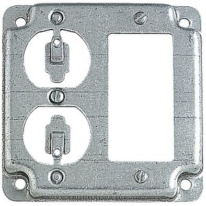 """Steel City RS-19-CC 4"""" Square Exposed Work Cover, (1) GFCI, (1) Duplex Receptacle"""
