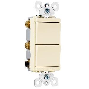 Pass & Seymour TM811-LACC Decora Switch, (2) 1-Pole, 15A, Light Almond