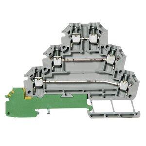 Allen-Bradley 1492-JT3M Terminal Block, 10A, 300V AC/DC, 3 Level, Ground Point, Gray, 2.5mm