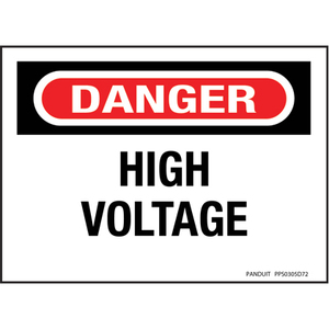 Panduit PPS0305D72 Adhesive Sign, Polyester, Legend HIGH VOLTAGE