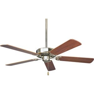 "Progress Lighting P2501-09 Paddle Fan, 52"", 5-Blade, Nickel/Cherry"