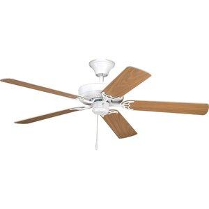 """Progress Lighting P2501-30 Paddle Fan, 52"""", 5-Blade, White/Oak"""
