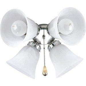 Progress Lighting P2610-09 Paddle Fan Light Kit, 4-Lamp, Nickel/White