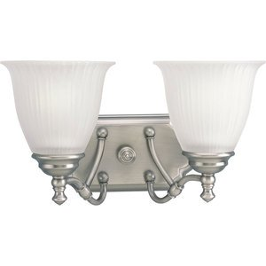 Progress Lighting P2730-81 Bath Light, 2 Light, 100W, Antique Nickel
