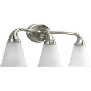 Progress Lighting P2760-09 Bath Light, 3-Light, 100W, Brushed Nickel