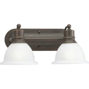 Progress Lighting P3162-20 Bath Light, 2 Light, 100W, Antique Bronze