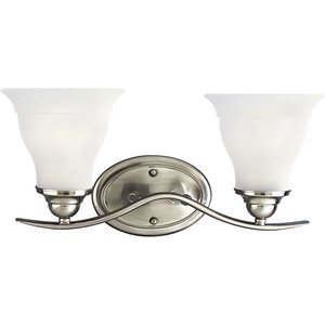Progress Lighting P3191-09 Bath Light, 2-Light, 100W, Brushed Nickel