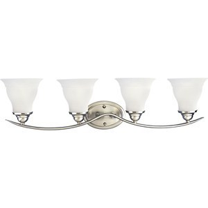 Progress Lighting P3193-09 Bath Light, 4-Light, 100W, Brushed Nickel