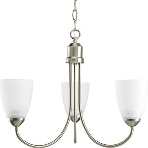 Progress Lighting P4440-09 3-Lt. Brushed Nickel Chandelier