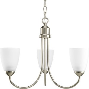 Progress Lighting P4440-09 Chandelier, 3-Light, 100W, Brushed Nickel