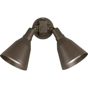Progress Lighting P5203-20 Bell Flood Light, Incandescent, 2-Light, 150W, 120V, Antique Bronze