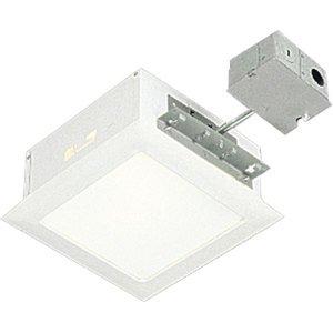 "Progress Lighting P6414-30TG Square Housing and Trim, Non-IC, 9-1/2"", White Trim, 100W"