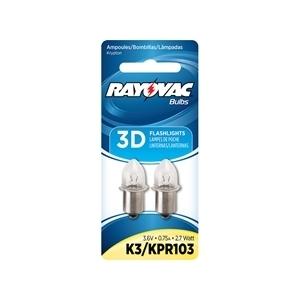 Rayovac K3-2 Flashlight Bulb, B3.5, 2.7W, 3.6V