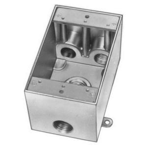 "Red Dot IHD4-2 Weatherproof Outlet Box, 1-Gang, 2-5/8"" Deep, (4) 3/4"" Hubs, Aluminum"